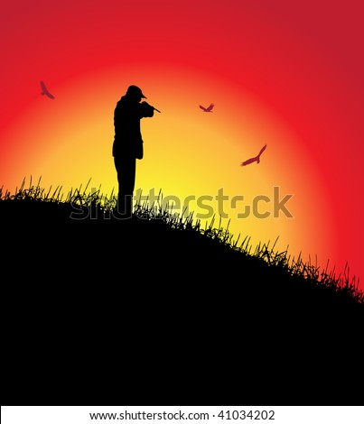 man aiming to vultures, vector illustration