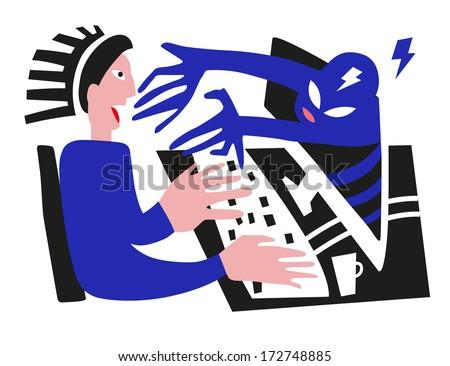 man and computer virus, hacker - vector illustration - stock vector