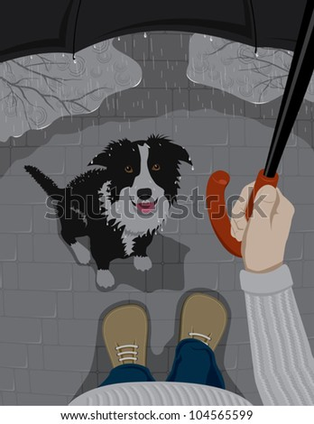 man and dog are hiding from the rain - stock vector