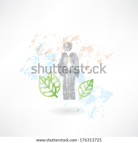 Man and leafs grunge icon - stock vector