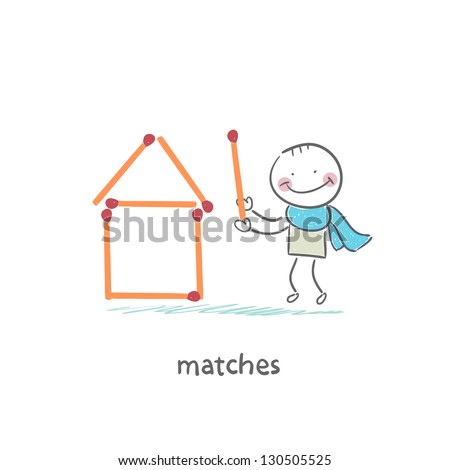 Man and matches - stock vector