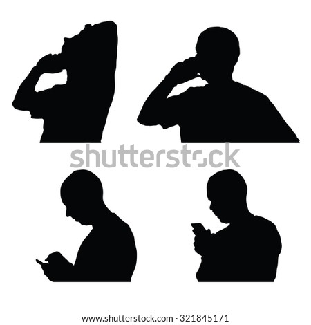 man and mobile phone silhouette on white background - stock vector