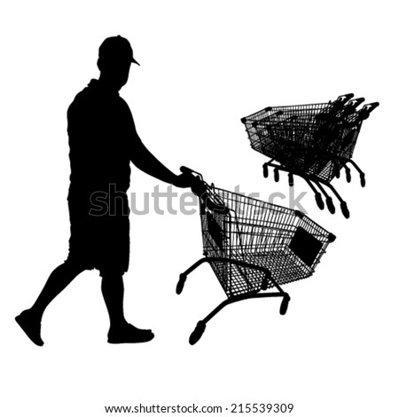 Man and Shopping Cart Silhouette - stock vector