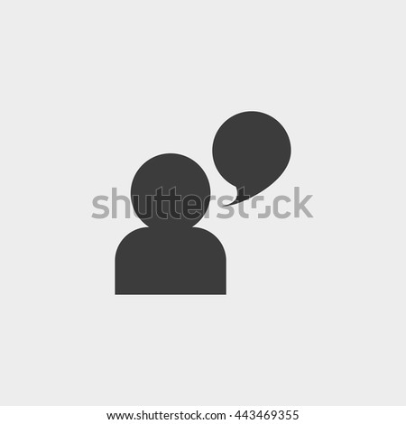 man and speech bubble icon in a flat design in black color. Vector illustration eps10 - stock vector