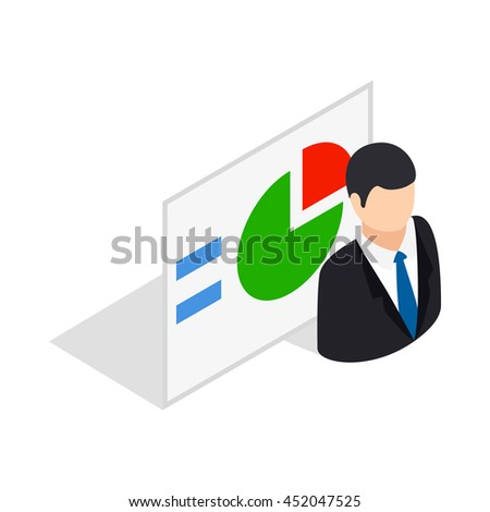 Man and statistics icon in isometric 3d style isolated on white background. Compute symbol - stock vector