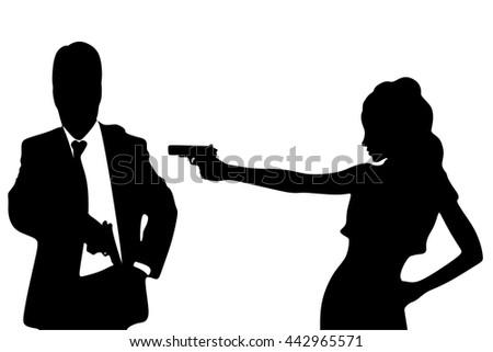 man and woman aiming gun - stock vector