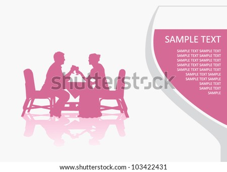 Man and woman at the table - stock vector