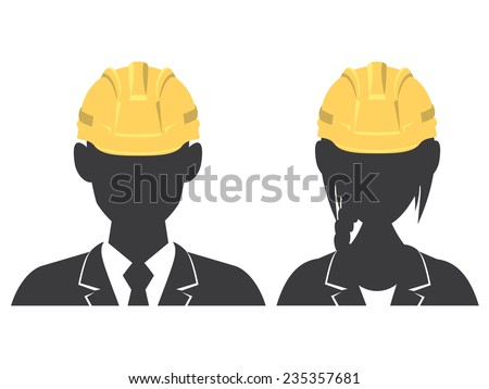 Man and woman avatar wearing hard hat, vector illustration, isolated white background - stock vector