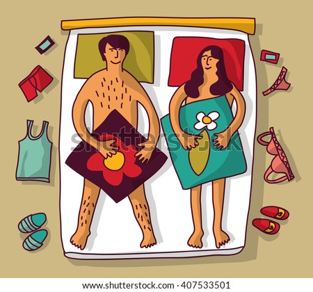 Man and woman couple naked sex relations in bed. Color vector illustration. EPS8