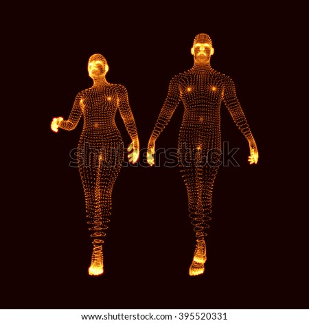 Man and Woman. 3D Model of Man. Human Body Model. Body Scanning. View of Human Body. Vector Graphics Composed of Particles. - stock vector