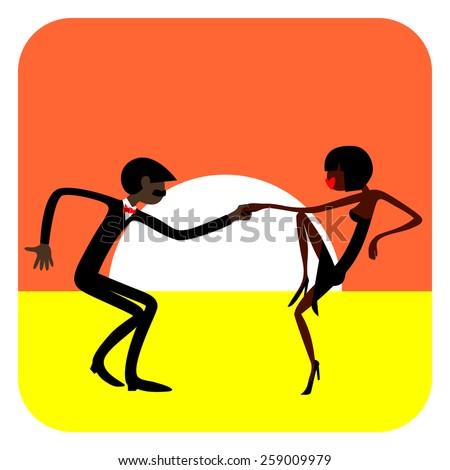 Man and woman dancing. Dancing couple.  Caricature. Flat. Dark-skinned people. Sports dance. - stock vector