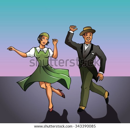 Man and woman dancing, the beginning of XX century, vector illustration - stock vector