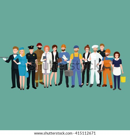 man and woman different occupations employees in uniform, group of workers in hat, people team profession set cartoon vector illustration