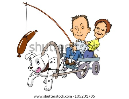 Man and woman driving a cart pulled by a dog - stock vector