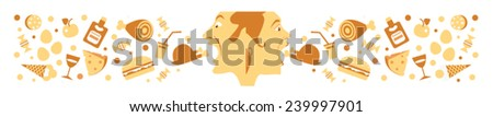 man and woman eat the food - stock vector
