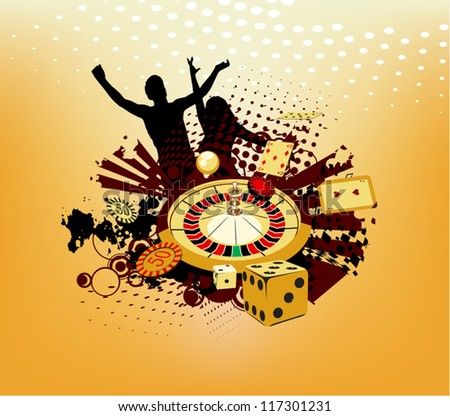 man and woman enjoys winning in a casino - stock vector