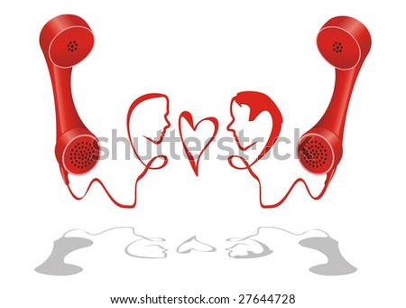 Man and woman face grown from telephone cord - stock vector