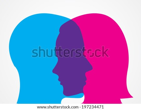 man and woman face touch / vector illustration - stock vector