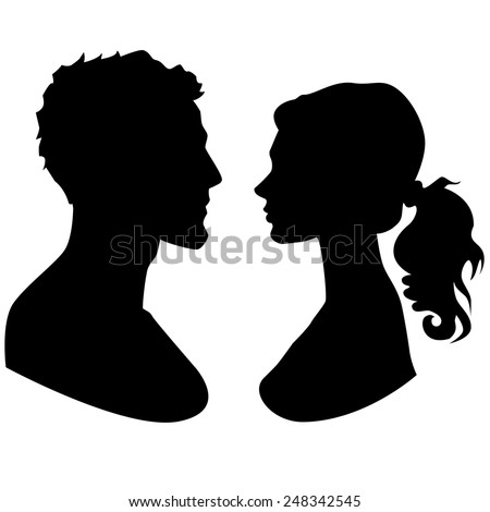 Man and woman faces silhouette
