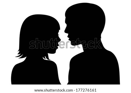 man and woman facing each other silhouette  - stock vector