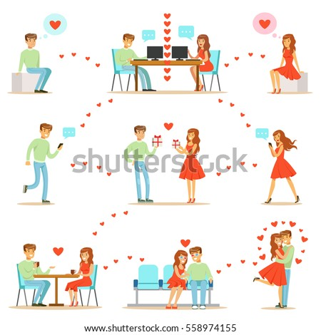 Man And Woman Finding Love And Dating Using Dating Web Sites And App On Smartphones And