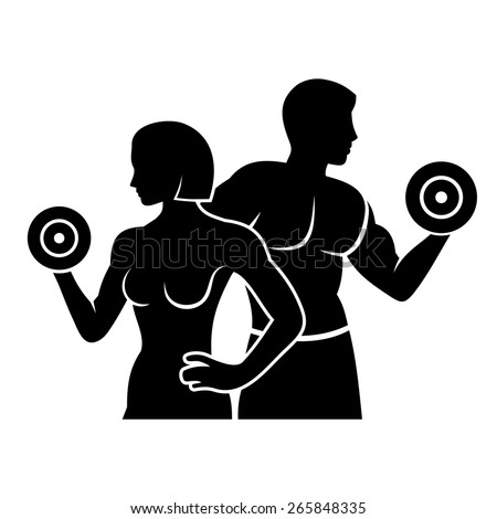 Man and Woman Fitness Silhouette Vector Logo Icon - stock vector