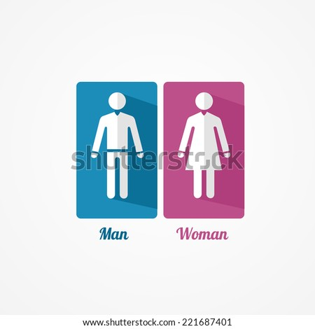Man and Woman flat icon with shadows on white - stock vector