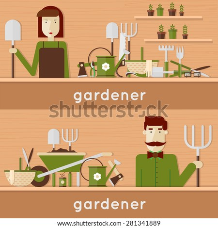 Man and woman gardeners with their garden tools. Environmental activities. Gardening icons set. Modern flat style. Vector illustrations. 2 banners. - stock vector