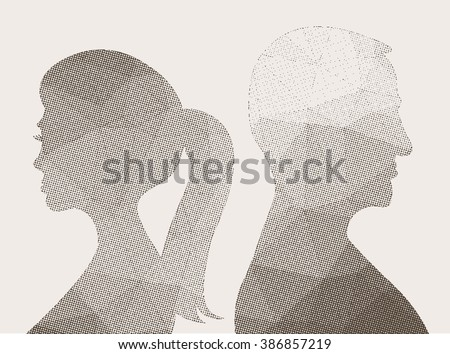 Man and woman, halftone silhouette vector illustration - stock vector