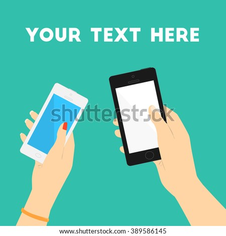 Man and woman hands with phones. Copy space. Minimal flat vector illustration for print or web. - stock vector