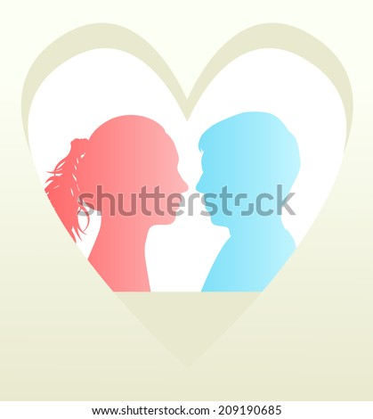 Man and woman head in heart vector background concept - stock vector