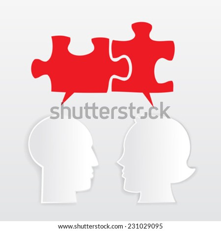 Man and woman head shapes with red puzzle - stock vector