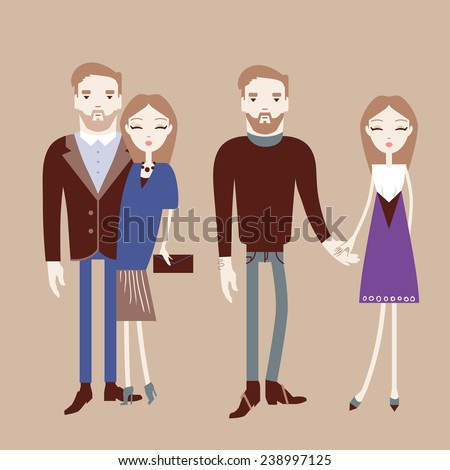 Man and woman holding hands. Fashionable couple vector illustration eps 10 - stock vector