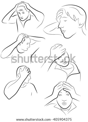 man and woman holding hands to head, forehead, neck, arms wrapped around her head - stock vector
