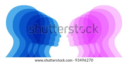 "Man and woman human heads. ""Opposition"" and ""gender"" concept. - stock vector"