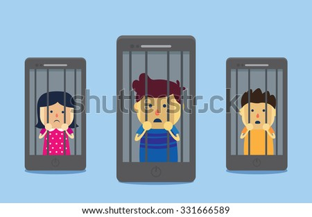 Man and woman imprisoned in smartphone. This illustration meaning to Smart phone addiction of people which self imprisoned in online social network. - stock vector