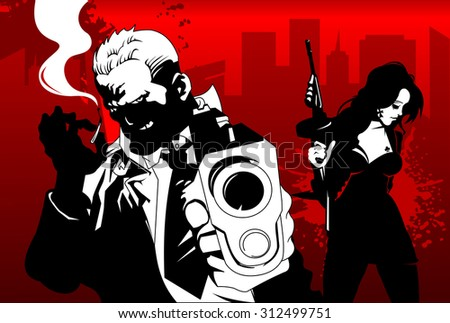 man and woman in black suits with a weapon, vector, illustration - stock vector