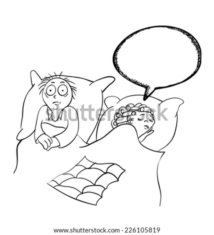 Man and woman in the bedroom, contour vector illustration - stock vector