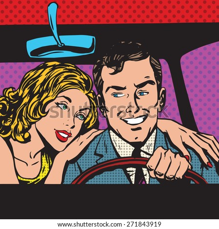 Man and woman in the car family pop art comics retro style Halftone. Imitation of old illustrations. Imitation vintage illustrations. Buy transport - stock vector