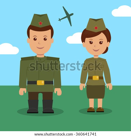 Man and woman in uniform of the Russian military. Characters military for background on 23 February - stock vector
