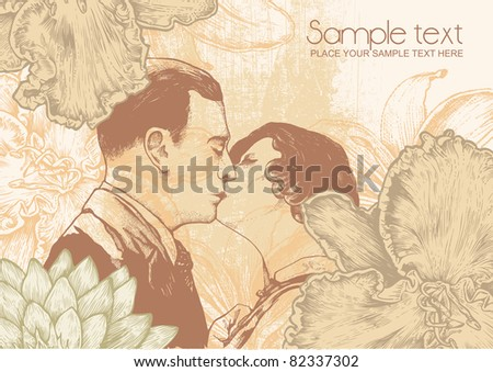 Man and woman kissing and floral background, vintage engraved style. vector illustration - stock vector