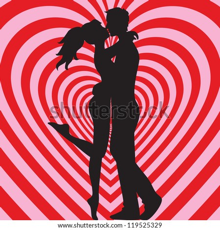 Man and woman kissing on heart pink and red background - stock vector