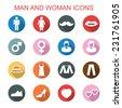 man and woman long shadow icons, flat vector symbols - stock vector