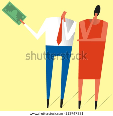 Man and woman looking puzzled hold up a dollar bill - stock vector
