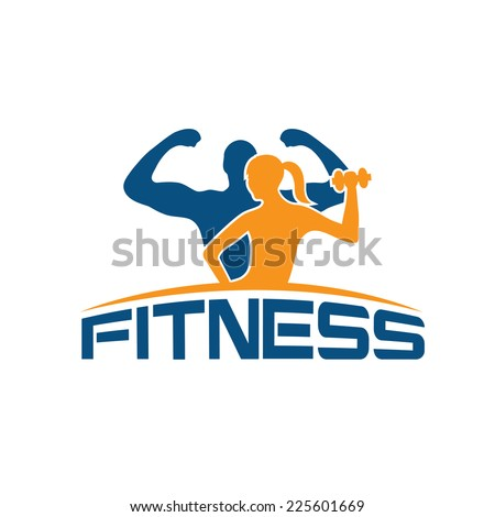 man and woman of fitness silhouette character vector design template - stock vector