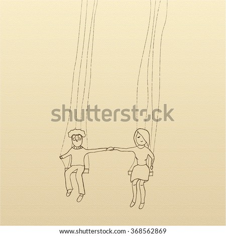 Man and woman on swings holding hands as a sign of love. Greeting card for Valentine's Day in a sketch style. Modern vector illustration concept, isolated on white background - stock vector