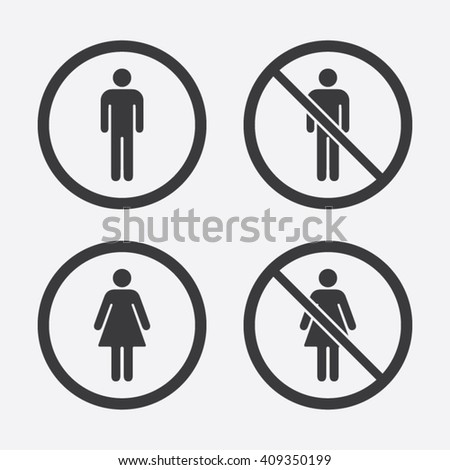 Man and Woman or No Man and No Woman Allowed Vector Signs - stock vector