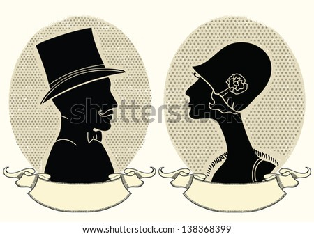 Man and woman portraits.Vector vintage illustration - stock vector
