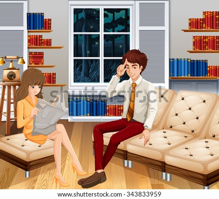Man and woman relaxing in the room illustration - stock vector