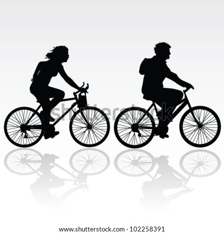 man and woman riding a bicycle vector silhouette - stock vector